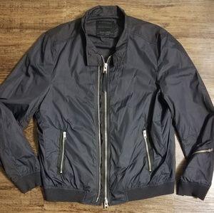 All Saints Double Zipper Nylon Bomber Jacket